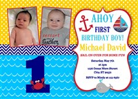 Personalized Ahoy Matey Birthday Party Invitations with Photos