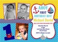 Ahoy Matey Nautical 1st Birthday Party Invitations