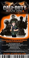 Call of Duty Black Ops Ticket Birthday Invitations