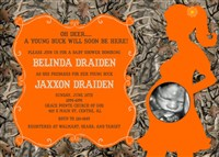 Deer Buck Hunting Camo Baby Shower Invitations Orange Mossy Oak