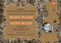 Oh Deer A Young Buck will be here! Camo Baby Boy Shower Invitations