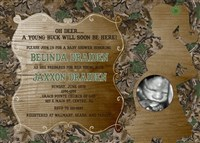 Realtree Camo Hunting Baby Boy Shower Invitations with Ultrasound Photo