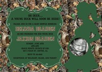 Realtree Camouflage Camo Baby Boy Shower Invitations with Deer Buck