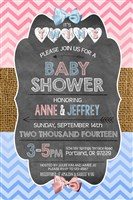 Printable Chalkboard TWINS Baby Shower Invitations Pink Blue Rustic