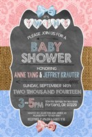 Chalkboard Boy Girl TWINS Baby Shower Invitations Damask Print
