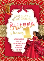 Red & Gold Glitter Elena of Avalor Birthday Party Invitations