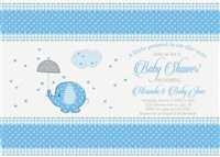 Printable Blue Elephant Baby Shower Invitations for Boy
