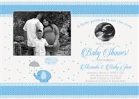 Blue Gray Elephant Baby Shower Invitations with ultrasound photo