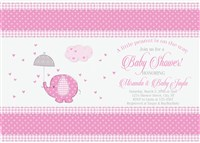 Personalized Pink Elephant Baby Shower Invitations
