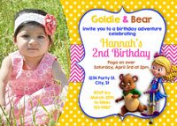 Goldie & Bear Birthday Party Invitations with Photos