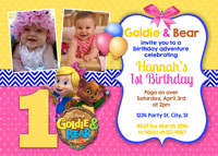 Printable Goldie & Bear Birthday Invitations with Photos