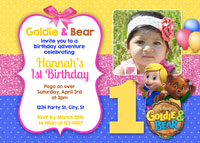 Printable Goldie and Bear Birthday Invitations with Photo