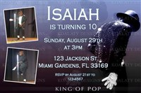Michael Jackson Birthday Party Invitations King of Pop
