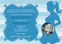 Blue Chevron Baby Shower Invitations with Ultrasound photo