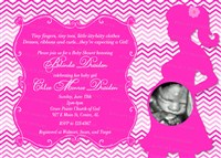 Hot Pink Chevron Baby Shower Invitations with Ultrasound photo