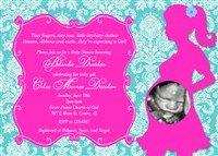 Hot Pink and Turquoise Damask Print Baby Shower Invitations