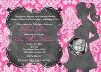 Hot Pink White Damask Baby Girl Shower Invitations with Chalkboard