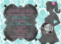 Turquoise Hot Pink Girl's Damask Baby Shower Invitations with Chalkboard