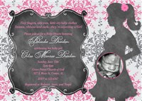 Pink White Gray Damask Chalkboard Baby Shower Invitations with Ultrasound Photo