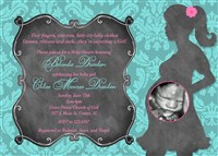 Turquoise Damask Print Baby Shower Invitations Hot Pink and Chalkboard