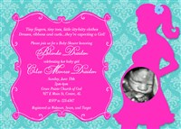 Turquoise Damask Print Baby Shower Invitations with Hot Pink