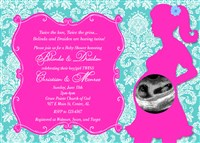 Boy Girl Twins Baby Shower Invitations Hot Pink Turquoise Damask