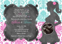 Hot Pink & Turquoise Damask Baby Shower Invitations Twins Boy Girl
