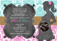 Girl Boy Twins Baby Shower Invitations Damask Chalkboard Burlap