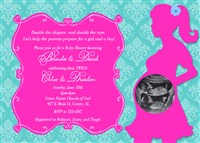 Damask Print Baby Shower Invitations Boy Girl TWINS Hot Pink & Turquoise
