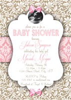 Burlap & Lace Baby Girl Shower Invitations with Ultrasound photo