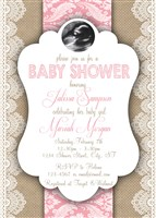 Lace Burlap Pink Baby Girl Shower Invitations with Sonogram photo