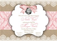 Vintage Rustic Southern Burlap and Lace Baby Girl Shower Invitations