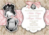 Burlap, Lace and Bow Baby Girl Shower Invitations with photos