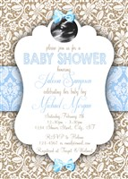 Burlap & Lace Baby Boy Shower Invitations with Ultrasound photo
