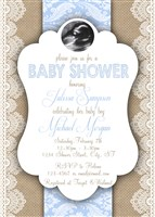 Vintage Burlap Lace Baby Boy Shower Invitations with Ultrasound photo