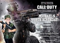 Printable Call of Duty Party Invitations with photo