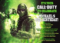 Neon Green Call of Duty Ghosts Birthday Invitations