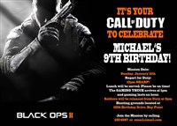 Call of Duty Black Ops Birthday Party Invitations
