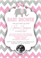 Elephant Baby Shower Invitations Pink Gray Glitter Chevron Ultrasound Photo
