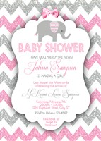 Printable Girl Elephant Baby Shower Invitations Pink Gray Glitter Chevron