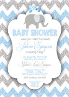 Printable Boy Elephant Baby Shower Invitations Blue Gray Glitter Chevron