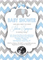Elephant Baby Shower Invitations Blue Gray Glitter Chevron Ultrasound Photo