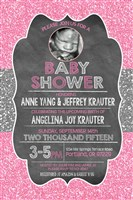 Hot Pink Silver Glitter Baby Shower Invitations with Ultrasound Photo
