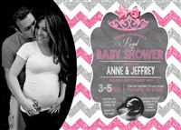 Hot Pink Silver Glitter Chevron Princess Baby Shower Invitations with Photos