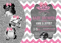 Chevron Princess Baby Shower Invitations Hot Pink Silver Glitter Multiple Photos