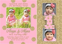 Pink Gold Glitter Twins First Birthday Invitations Polka Dots
