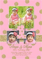 Glitter Sparkle TWINS First Birthday Invitations Multi-Photo