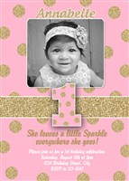 Sparkle & Shine 1st Birthday Party Invitations Pink Gold