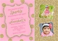 Pink Gold Polka Dot First Birthday Invitations Sparkle Shine