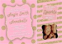 Sparkle Shine Pink Blush Gold Glitter Baby Shower Invitations